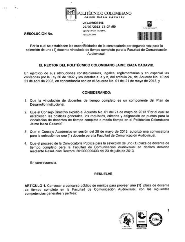 Convocatoria vinculación docente Facultad de Comunicación Audiovisual