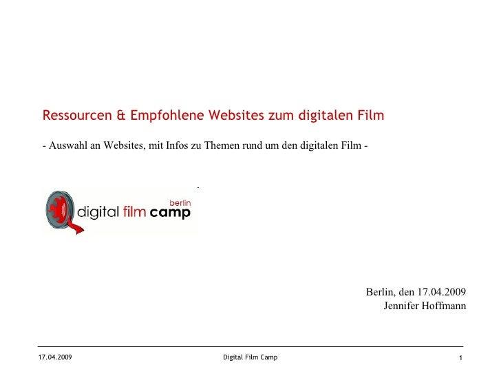 Ressourcen & Empfohlene Websites zum digitalen Film - Auswahl an Websites, mit Infos zu Themen rund um den digitalen Film ...