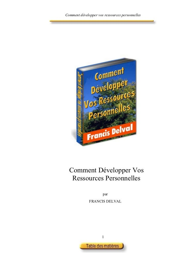 Comment développer vos ressources personnelles  Comment Développer Vos   Ressources Personnelles                      par ...