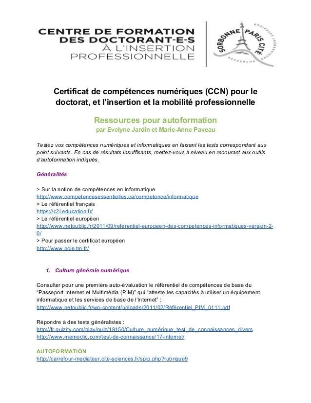 Certificat de compétences numériques (CCN) pour le doctorat, et l'insertion et la mobilité professionnelle Ressources pour...