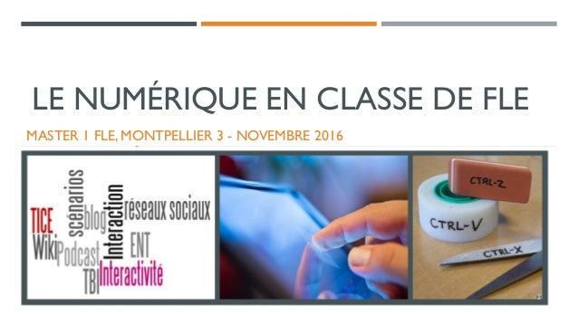 LE NUMÉRIQUE EN CLASSE DE FLE MASTER 1 FLE, MONTPELLIER 3 - NOVEMBRE 2016