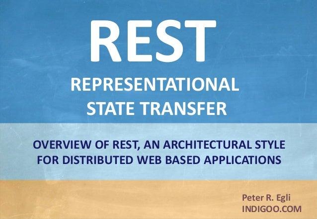 © Peter R. Egli 2015 1/33 Rev. 2.40 REST – Representational State Transfer indigoo.com Peter R. Egli INDIGOO.COM OVERVIEW ...