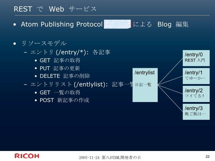 REST で Web サービス <ul><li>Atom Publishing Protocol  っぽい例 による  Blog  編集 </li></ul><ul><li>リソースモデル </li></ul><ul><ul><li>エントリ ...