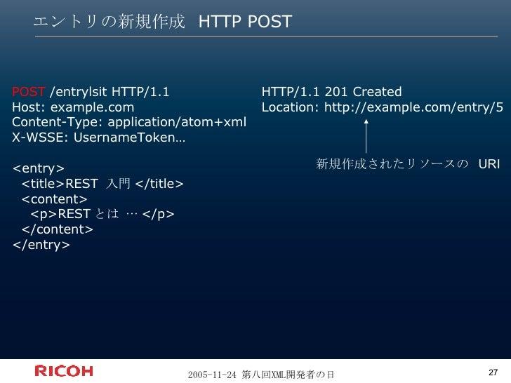 エントリの新規作成 HTTP POST HTTP/1.1 201 Created Location: http://example.com/entry/5 POST  /entrylsit HTTP/1.1 Host: example.com ...