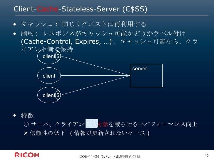 Client- Cache -Stateless-Server (C$SS) <ul><li>キャッシュ: 同じリクエストは再利用する </li></ul><ul><li>制約: レスポンスがキャッシュ可能かどうかラベル付け (Cache-Co...