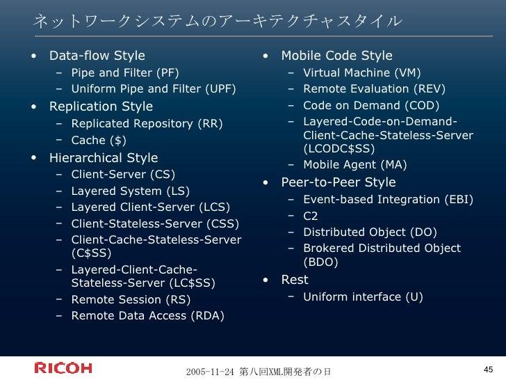 ネットワークシステムのアーキテクチャスタイル <ul><li>Data-flow Style </li></ul><ul><ul><li>Pipe and Filter (PF) </li></ul></ul><ul><ul><li>Unifo...