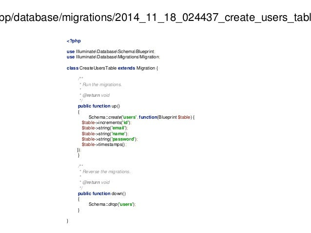 app/database/migrations/2014_11_18_024437_create_users_table.<?php  use IlluminateDatabaseSchemaBlueprint;  use Illuminate...