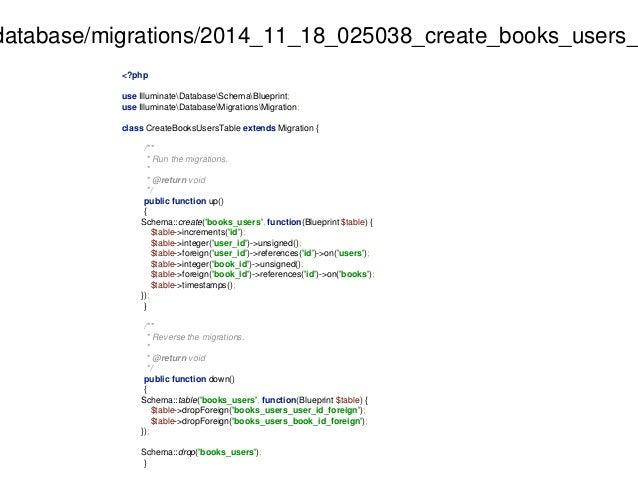 database/migrations/2014_11_18_025038_create_books_users_<?php  use IlluminateDatabaseSchemaBlueprint;  use IlluminateData...