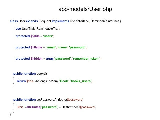 app/models/User.php  class User extends Eloquent implements UserInterface, RemindableInterface {  use UserTrait, Remindabl...