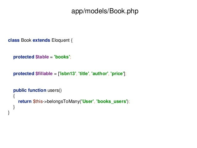 app/models/Book.php  class Book extends Eloquent {  protected $table = 'books';  protected $fillable = ['isbn13', 'title',...