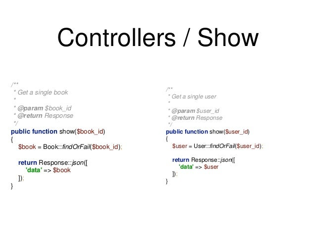 Controllers / Show  /**  * Get a single user  *  * @param $user_id  * @return Response  */  public function show($user_id)...