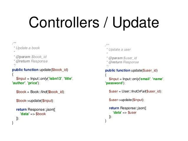 Controllers / Update  /**  * Update a book  *  * @param $book_id  * @return Response  */  public function update($book_id)...