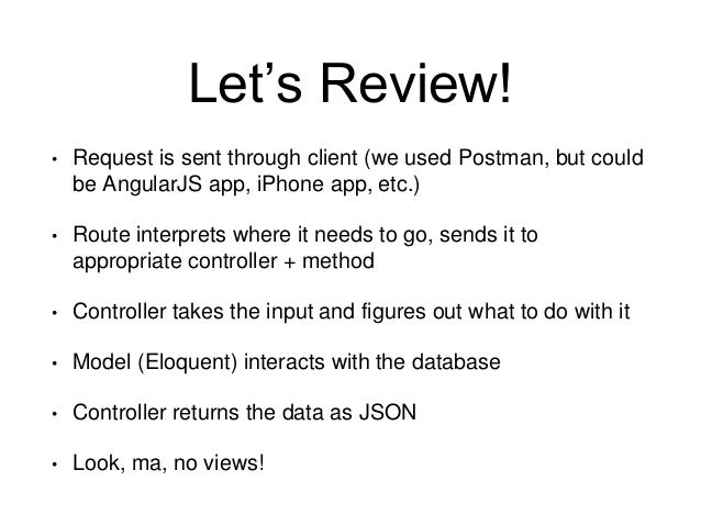 Let's Review!  • Request is sent through client (we used Postman, but could  be AngularJS app, iPhone app, etc.)  • Route ...
