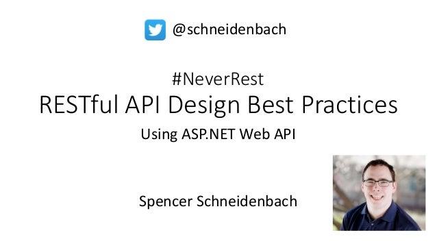 #NeverRest RESTful API Design Best Practices Using ASP.NET Web API Spencer Schneidenbach @schneidenbach