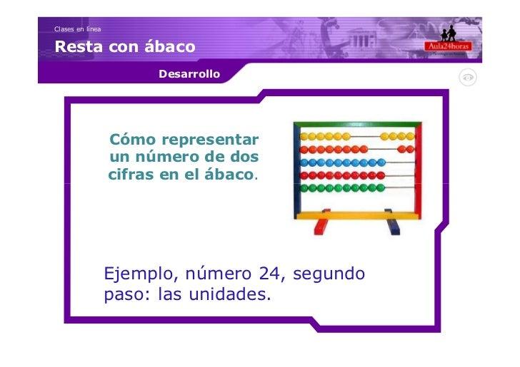 Clases en líneaResta con ábaco                        Desarrollo                  Cómo representar                  un núm...