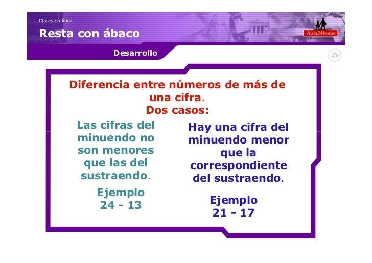 Clases en líneaResta con ábaco                    Desarrollo             Diferencia entre números de más de               ...