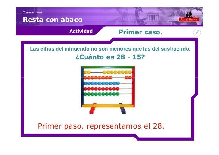 Clases en líneaResta con ábaco                    Actividad          Primer caso.     Las cifras del minuendo no son menor...