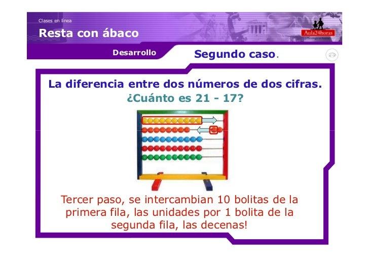 Clases en líneaResta con ábaco                    Desarrollo     Segundo caso.    La diferencia entre dos números de dos c...