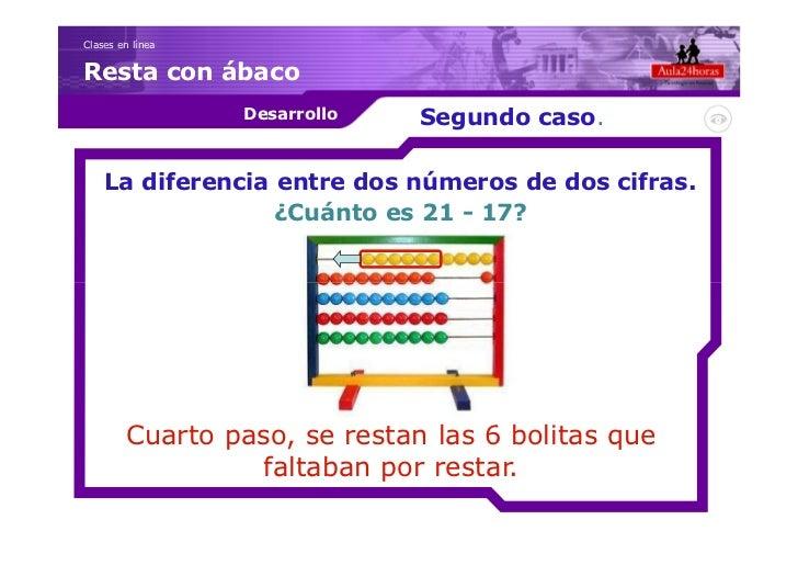 Clases en líneaResta con ábaco                  Desarrollo   Segundo caso.    La diferencia entre dos números de dos cifra...