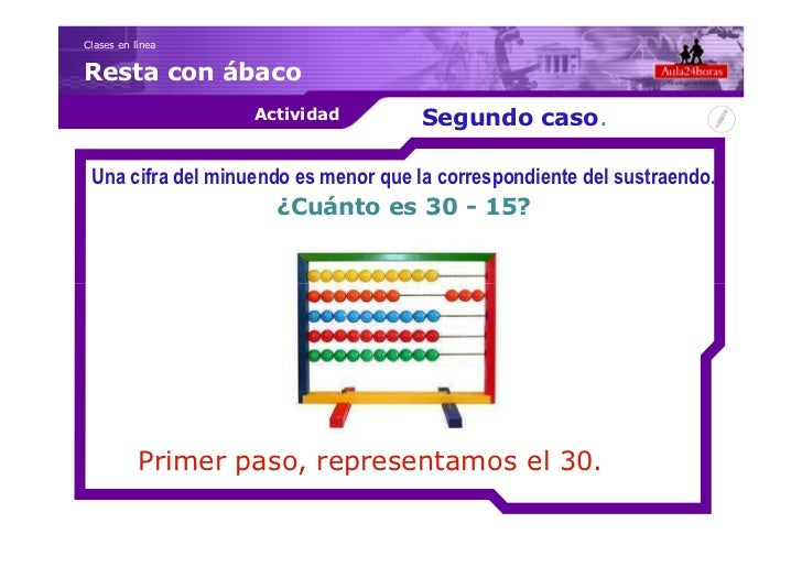 Clases en líneaResta con ábaco                   Actividad          Segundo caso. Una cifra del minuendo es menor que la c...