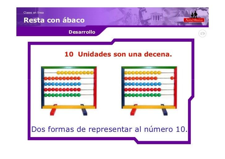 Clases en líneaResta con ábaco                   Desarrollo                  10 Unidades son una decena.     Dos formas de...