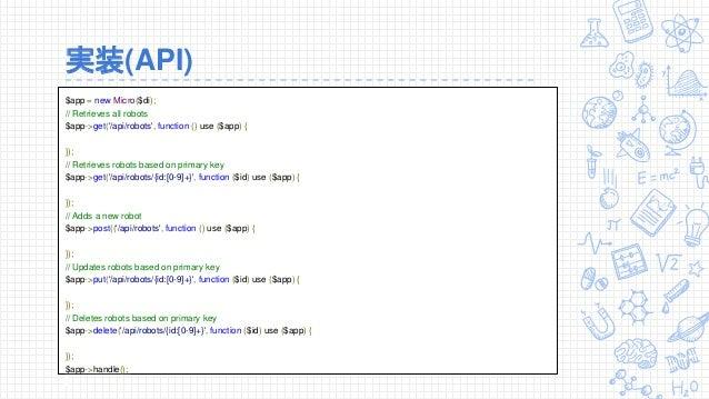実装(API) $app = new Micro($di); // Retrieves all robots $app->get('/api/robots', function () use ($app) { }); // Retrieves ...