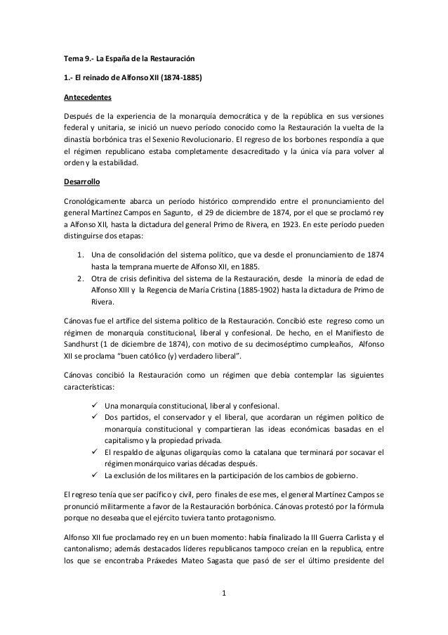 Tema 9.- La España de la Restauración 1.- El reinado de Alfonso XII (1874-1885) Antecedentes Después de la experiencia de ...