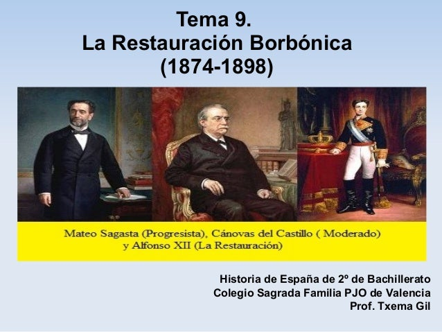 Tema 9.La Restauración Borbónica       (1874-1898)             Historia de España de 2º de Bachillerato            Colegio...