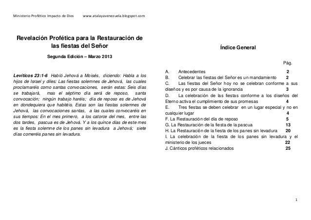 Ministerio Profético Impacto de Dios  www.atalayavenezuela.blogspot.com  Revelación Profética para la Restauración de las ...