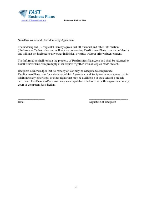 Restaurant businessplantemplate – Financial Confidentiality Agreement