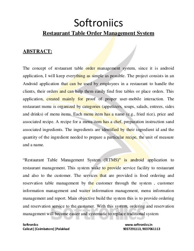 Restaurant Tableordermanagementsystemdocx - Restaurant table management system