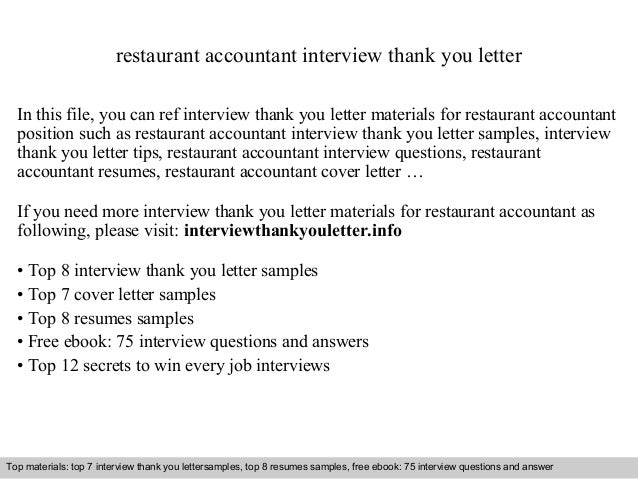 Restaurant Accountant Interview Thank You Letter In This File, You Can Ref  Interview Thank You ...