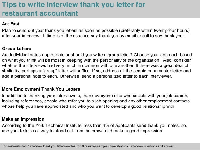 Restaurant accountant 3 tips to write interview thank you letter for restaurant expocarfo Images