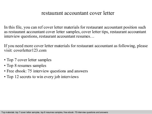 Restaurant Accountant Cover Letter In This File, You Can Ref Cover Letter  Materials For Restaurant Cover Letter Sample ...