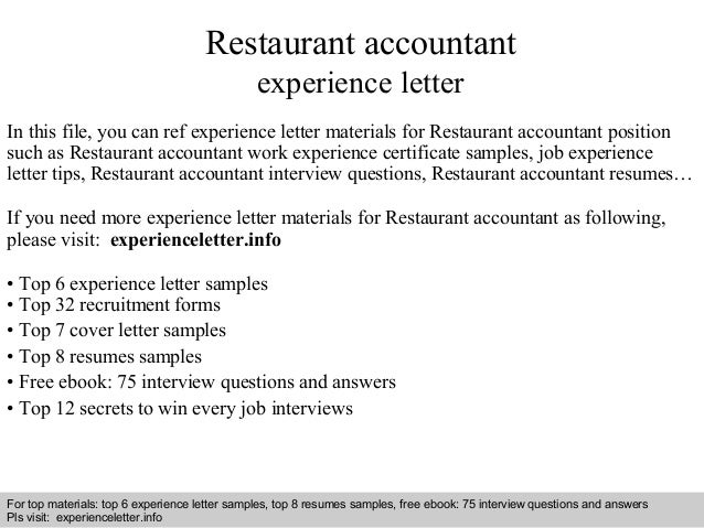 Restaurant accountant experience letter
