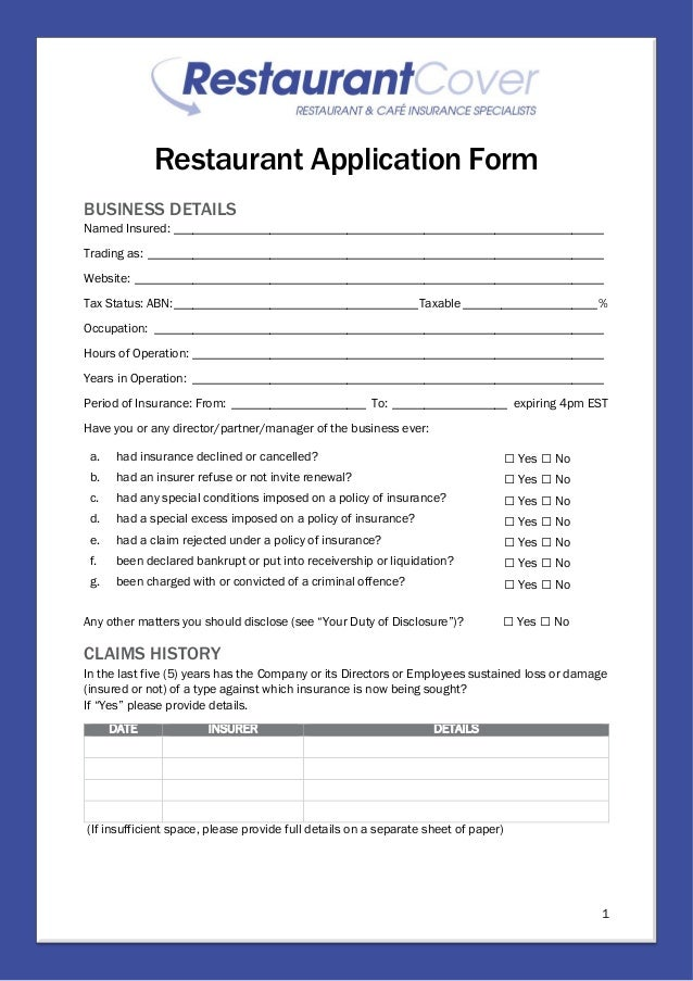 Restaurant Cover Application Form