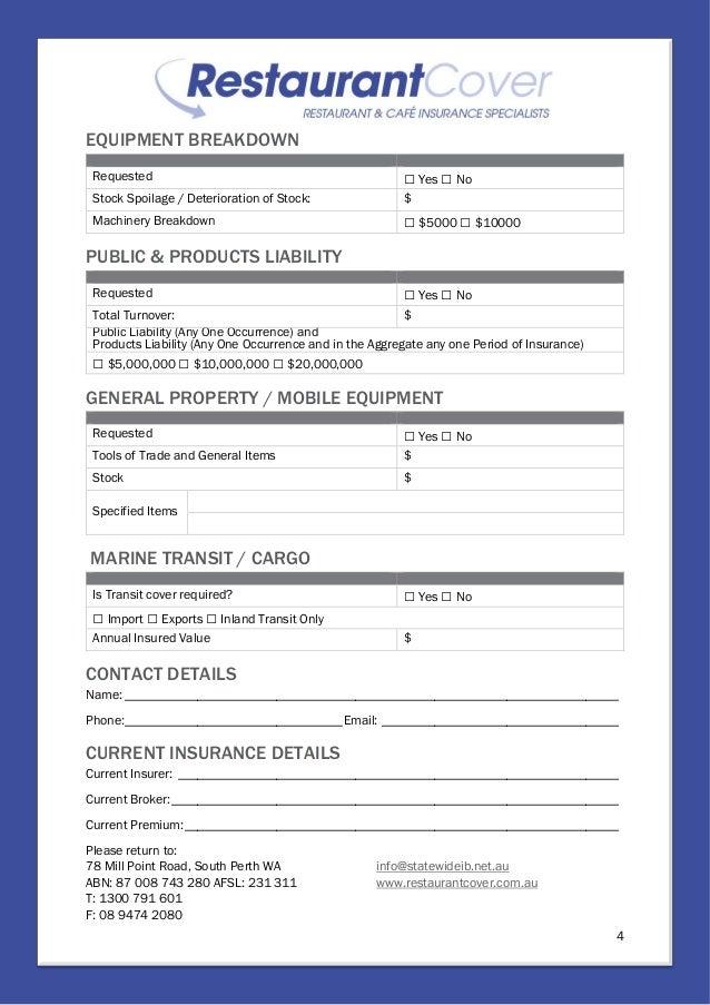 Restaurant Cover Application Form