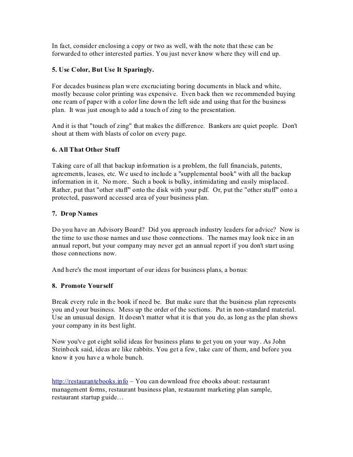 Restaurant business plan pdf