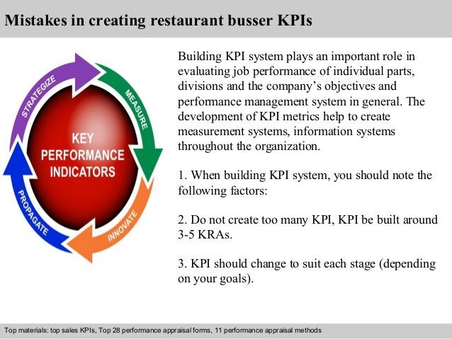Mistakes in creating restaurant busser KPIs  Building KPI system plays an important role in  evaluating job performance of...