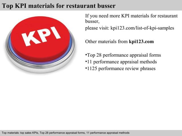 Top KPI materials for restaurant busser  If you need more KPI materials for restaurant  busser,  please visit: kpi123.com/...