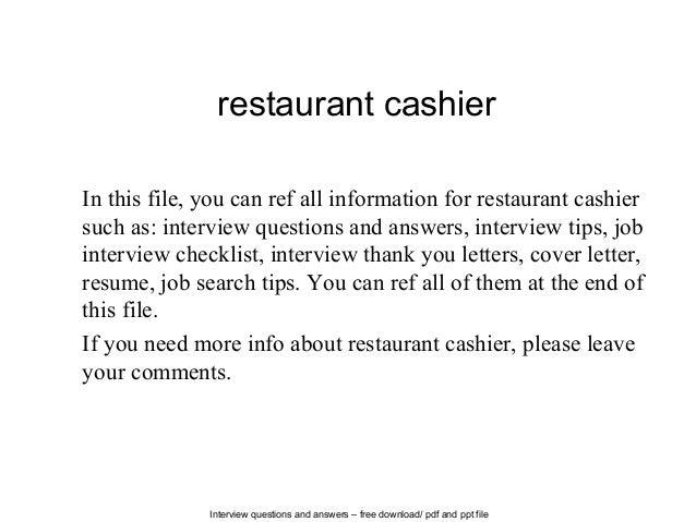 Restaurant Cashier