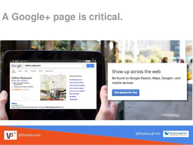 @ShellyKramer @MarketingProfs A Google+ page is critical.