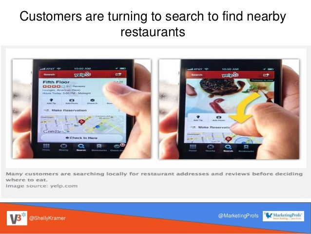 @ShellyKramer @MarketingProfs Customers are turning to search to find nearby restaurants
