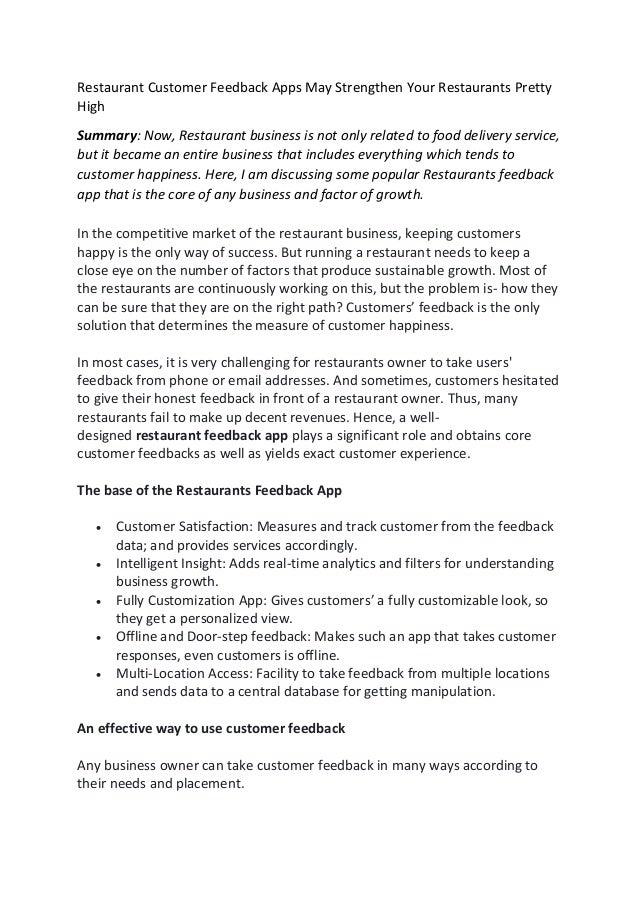 Restaurant Customer Feedback Apps May Strengthen Your Restaurants Pretty High Summary: Now, Restaurant business is not onl...