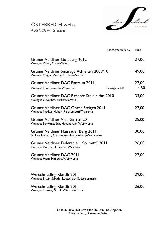 ÖSTERREICH weissAUSTRIA white wines                                                        Flasche/bottle 0,75 l   EuroGrü...
