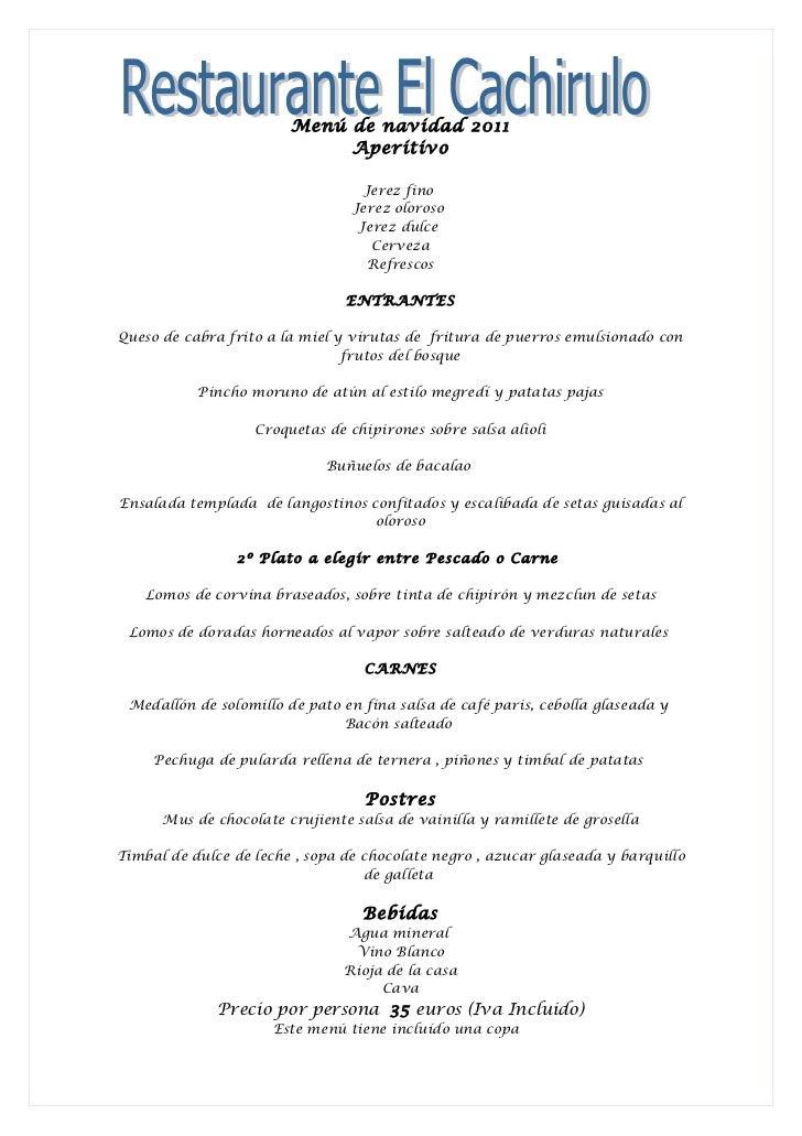 Restaurante el cachirulo menu de navidad 2 - Restaurante para navidad ...