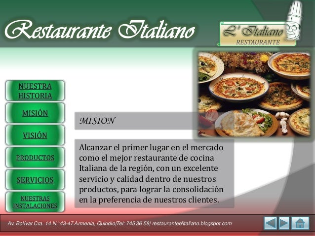 Restaurante italiano for Articulos para restaurantes