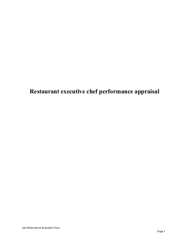 Restaurant executive chef performance appraisal Job Performance Evaluation Form Page 1