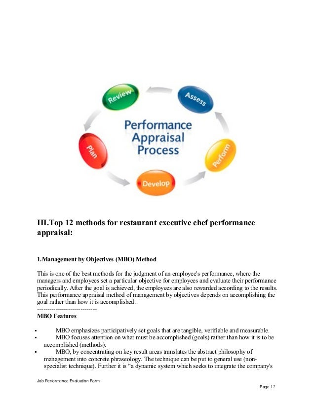 III.Top 12 methods for restaurant executive chef performance appraisal: 1.Management by Objectives (MBO) Method This is on...