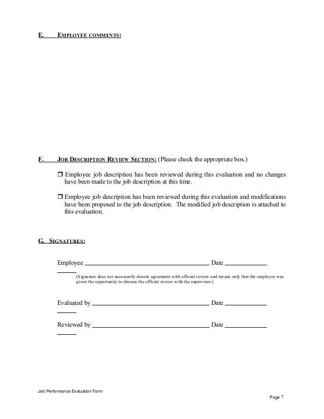 E. EMPLOYEE COMMENTS: F. JOB DESCRIPTION REVIEW SECTION: (Please check the appropriate box.)  Employee job description ha...